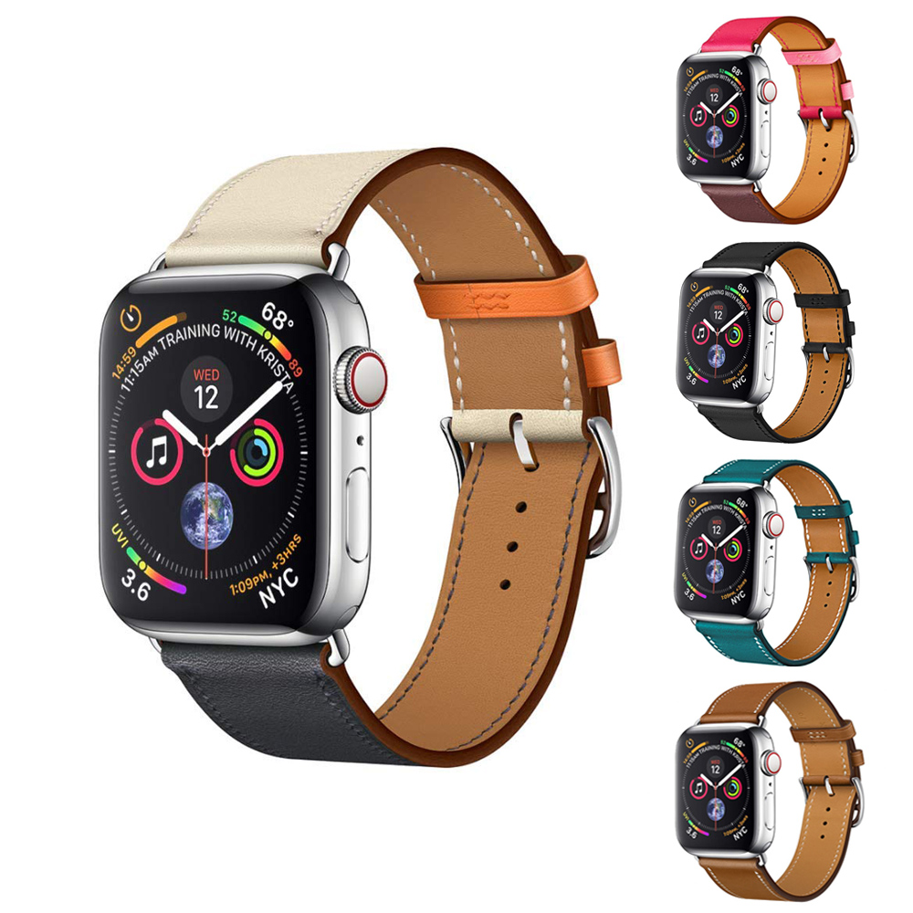 Yolovie Genuine Leather Strap Band for Apple Watch 42mm 44mm Series 4 3 2 1, High Quality Leather for Apple Sport Band 38mm 40mm 42mm 38mm for apple watch s3 series 3
