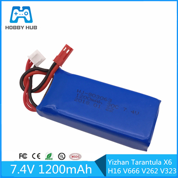 Dla Yizhan Tarantula X6 H16 bateria Lipo 7 4 v 1200 mAh 2S dla WLtoys V666 V262 V323 Quadcopter Drone 7 4 V 1200 mah helikopter tanie i dobre opinie Limskey CN (pochodzenie) Materiał kompozytowy 12 + y 18 + Baterii battery Baterie litowo-polimerowe Pojazdów i zabawki zdalnie sterowane