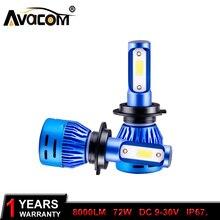 2Pcs LED H7 Mini Car Headlight Bulb H4 LED Hi-lo Lamp H1 H11 9005/HB3 9006/HB4 COB 72W 8000LM 6500K 12V/24V Auto Headlamp Light