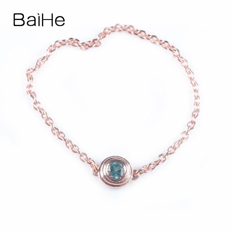 BAIHE, розовое золото 18 К (AU750), 100% натуральный небесно голубой топаз, милый подарок на помолвку, модное кольцо, цепочка, модные ювелирные украше