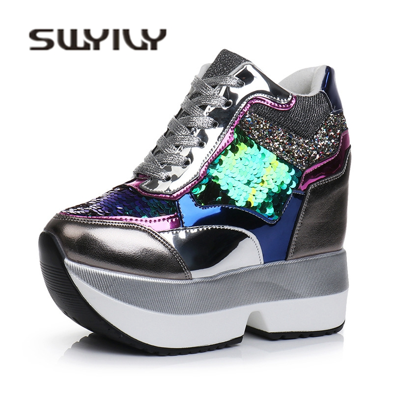 100% QualitäT Swyivy Schuhe Turnschuhe Frau Pailletten Keil Auutmn Weibliche Casual Schuhe Plattform Dicken Boden Komfortable Luxus Damen Turnschuhe Bestellungen Sind Willkommen.