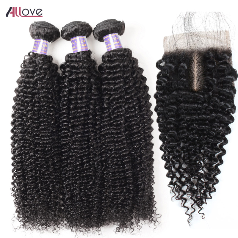 Allove Curly Hair With Closure Peruvian Remy Hair Bundles With Closure 100% Human Hair With Closure Natural Color Bundles Hair