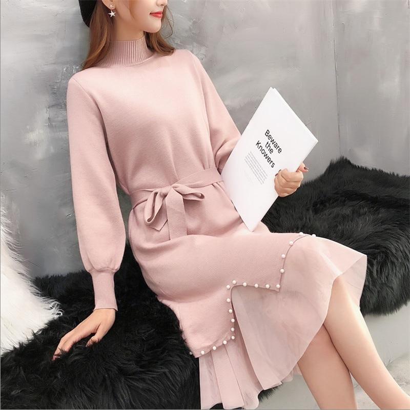 Women Winter Sweater Dress Long Koran Version Of The Bottom Skirt Knitted Turtleneck Beading Ham Lace