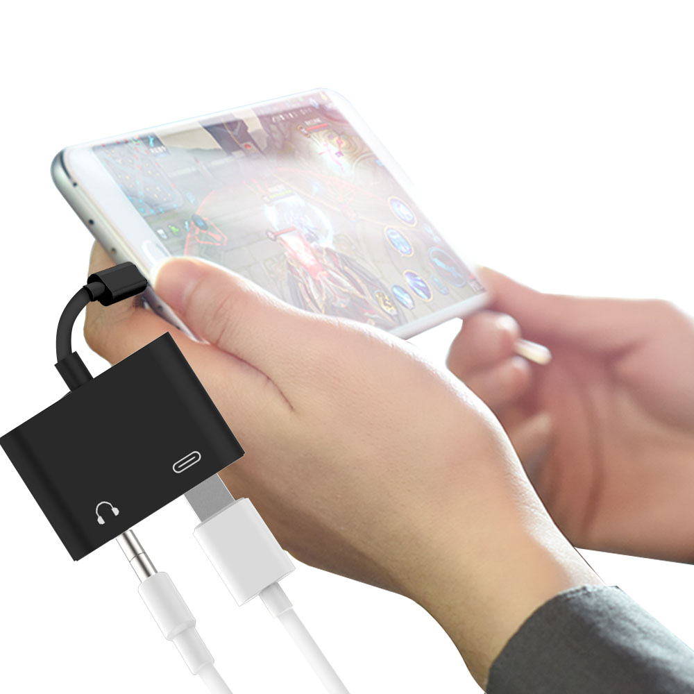 2 in 1 USB C Male to 3.5mm Digital Audio Adapter Female Stereo Earphone Fast Charging For iPad Pro Huawei P20 Google Pixel 2 2XL