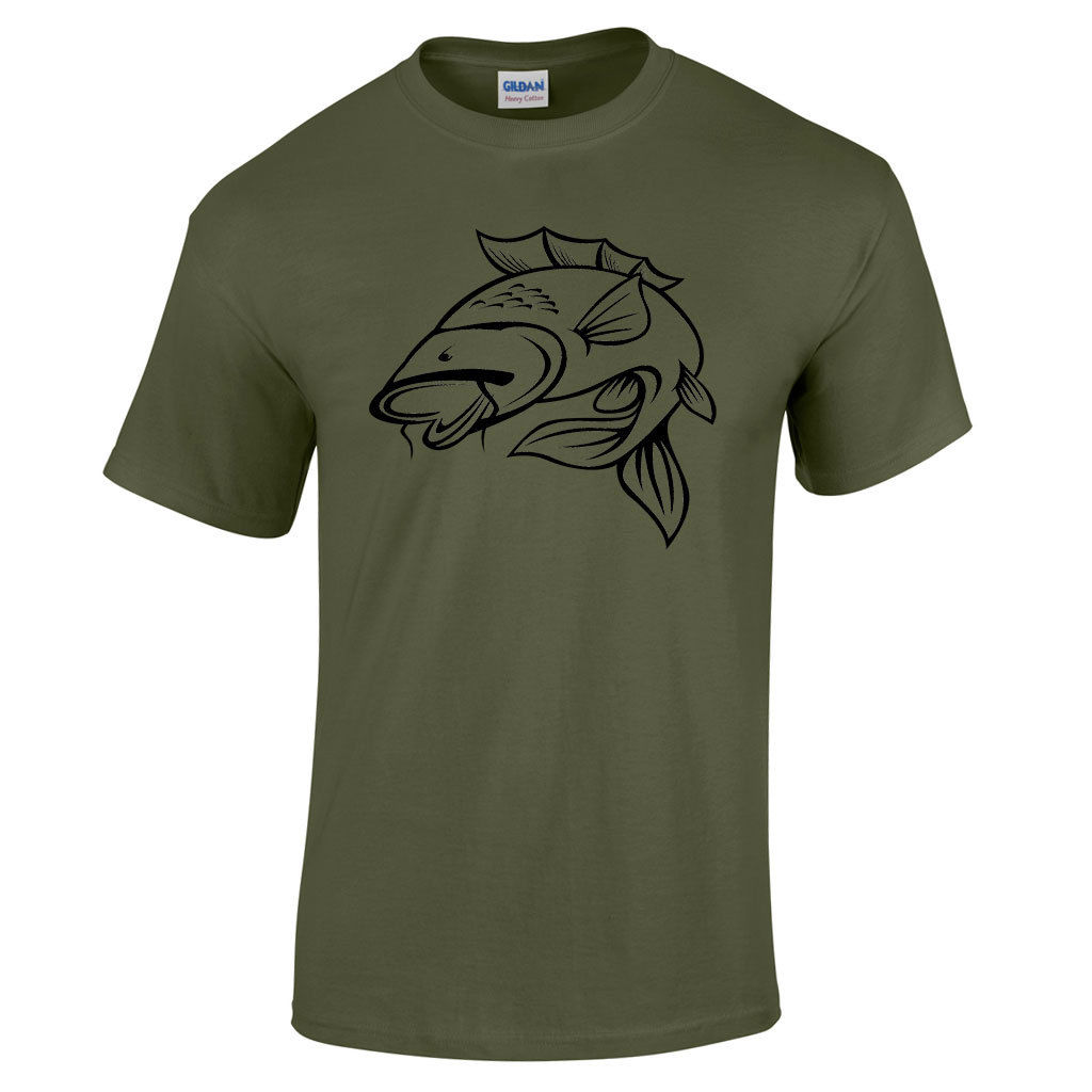 Carp Fishing T Shirt for Men Novelty Funny Tattoo Gift Ideas Fathers Day Xmas Cool Casual pride