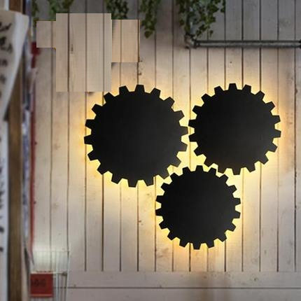 ФОТО Loft Style Iron Gear Vintage Wall Light Fixtures Industrial Wind Wall Sconce For Stair LED Wall Lamp Indoor Lighting