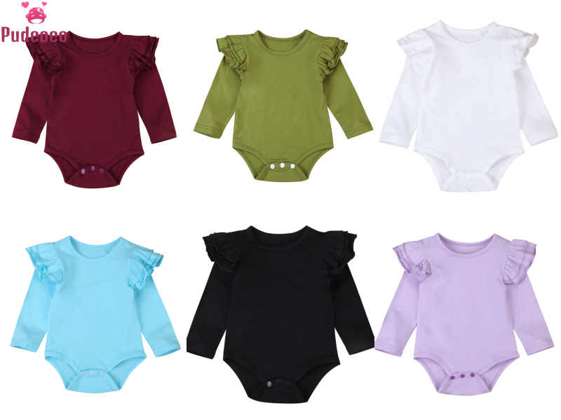 Fashion Solid Ruffles Newborn Cotton Romper Infant Baby Girls Boys Clothes Long Sleeve Outfits Jumpsuit Onesie 3M-2T