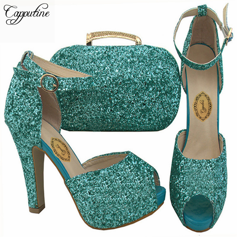Capputine African Style Shoes And Matching Bag Set Italy Elegant Woman Pumps Shoes And Bag Set For Wedding Party BCH-32 africa style ladies shoe with matching bag set italy woman hiigh heels shoes and bag set for wedding free shipping pme1 23