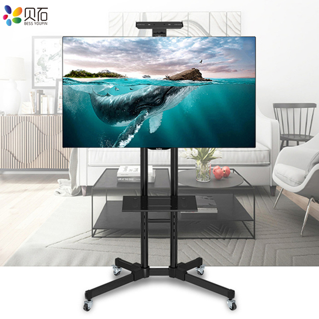 """Universal TV Cart Free Lifting 32"""" 65""""LED LCD Plasma TV Trolley Stand with Mobile Wheels and Adjustable AV Shelf Camera Holder"""