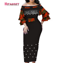 Dashiki African Dresses for Women One Shoulder Wrap Dress with Petal Sleeve Party/wedding  WY4035