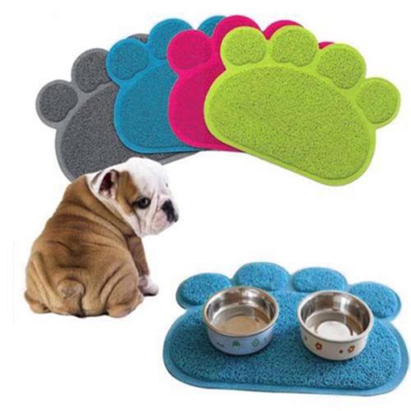 30cm*40cm Pet Dog Puppy Cat Feeding Mat Pad Cute Paw Pvc Bed Dish Bowl Food Water Feed Placemat Wipe Clean Pet Supplies
