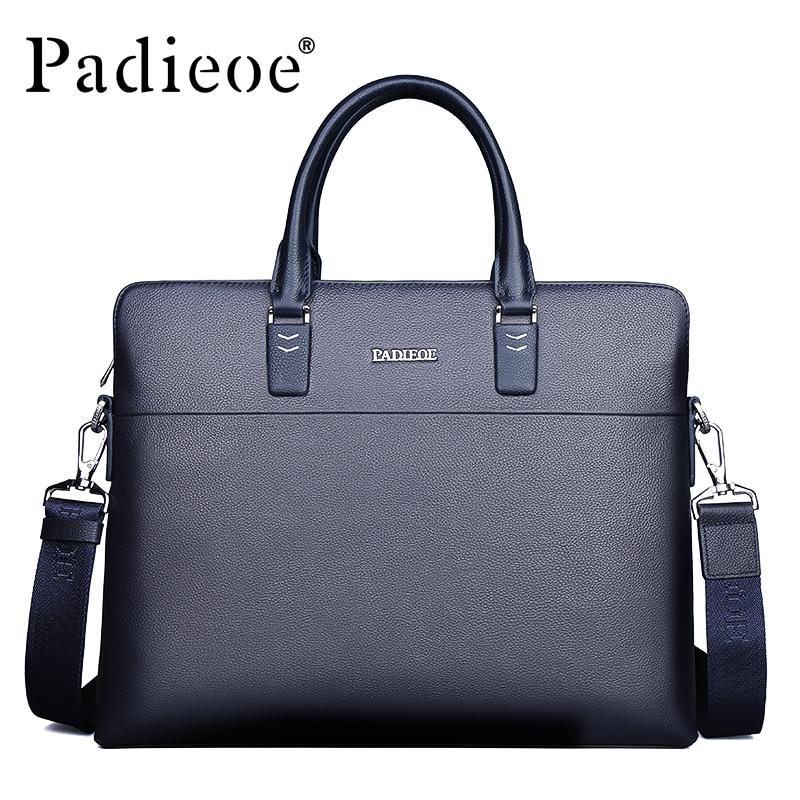 Padieoe Handbag Briefcase Shoulder-Bag Business-Portfolio Genuine-Cow-Leather Luxury