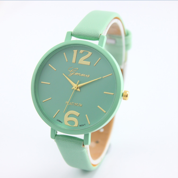 100% New Big Number Thin PU Leather Quartz Bracelet Watches Wristwatches for Women Ladies Girls 9 Colors