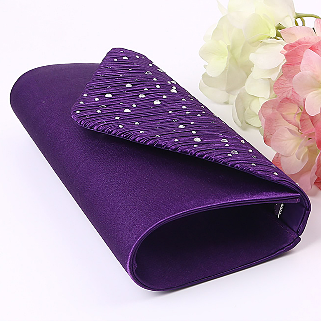 Tiny Glass Beads Clutches For Women Fashion Evening Bags Purple Chain Shoulder Bags Party Wedding Vintage Pearl Pochette Femme in Clutches from Luggage Bags