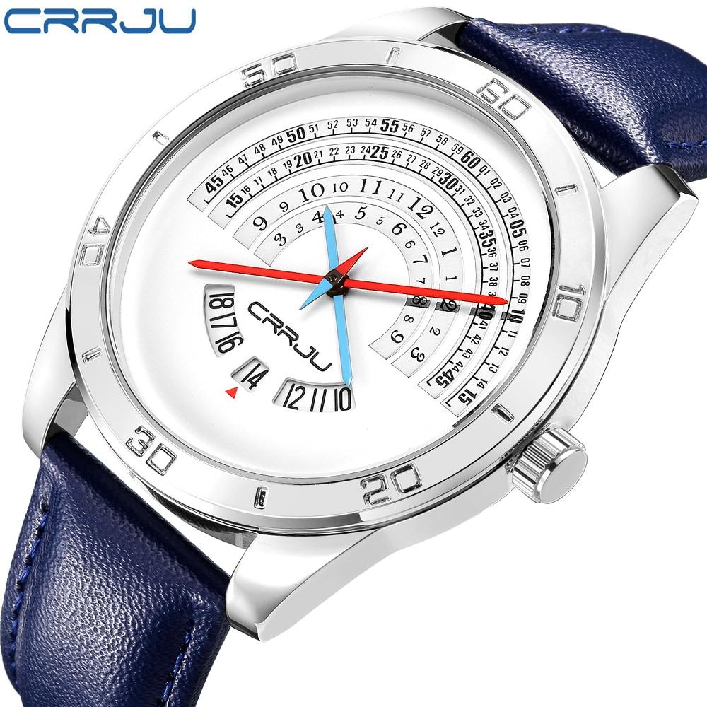 CRRJU TOP band luxury Sports leather Watches Mens casual quartz calendar Clock Army Military Wrist Watch Relogio Masculino