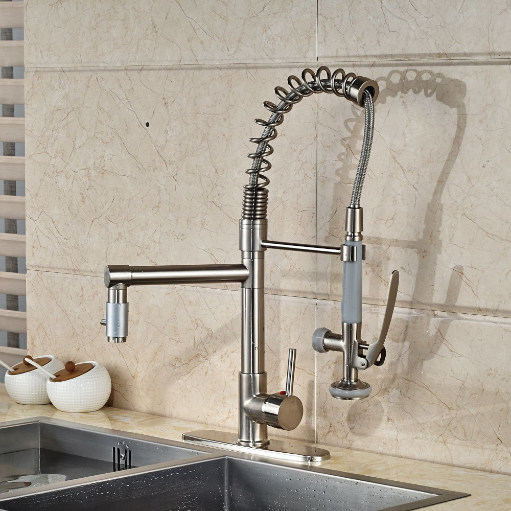 Water Faucet Kitchen Faucet Nickel Brushed Swivel Spout Mixer Tap 8 Hole Cove Plate Hot and