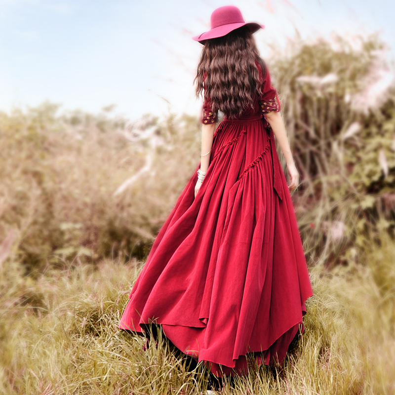 Envío Gratis 2019 Boshow nueva moda de pana manga larga trinchera vestidos de las mujeres Maxi largo Irregular vestido con cinturón-in Vestidos from Ropa de mujer    2