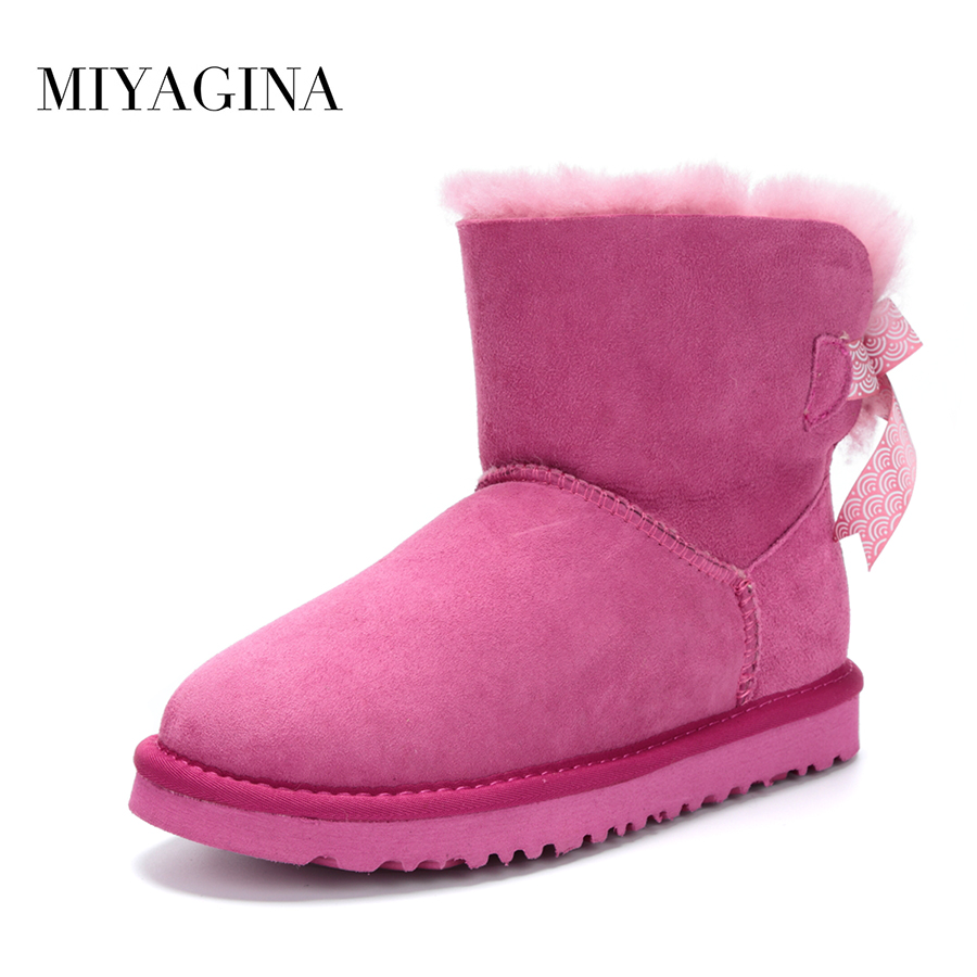 Top Quality New Arrival Real Fur Classic Mujer Botas Waterproof Genuine Sheepskin Leather Snow Boots Winter Shoes for Women sexemara brand 2016 new collection winter boots for women snow boots genuine leather ankle boots top quality plush botas mujer
