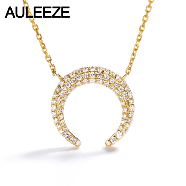 Auleeze romantic gold diamond moon pendant 18k solid yellow gold auleeze romantic gold diamond moon pendant 18k solid yellow gold real natural diamonds pave set pendant aloadofball Image collections