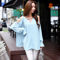 Dabuwawa Three Colors Open Shoulder Long Sleeve Blouse