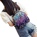 2016 New Arrival Women Backpack All-match PU Leather Sequins Backpack Girls Travel Sequins Leisure Black Shoulder bags ZD413