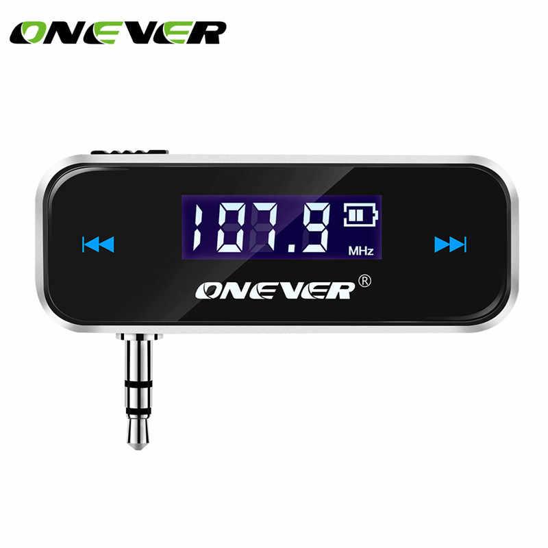 Onever Mini 3.5 مللي متر سيارة لاسلكية راديو الموسيقى الصوت FM الارسال يدوي FM المغير جهاز إرسال FM LCD مع كابل