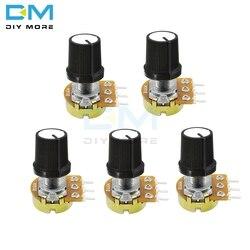 Potenciómetro lineal giratorio para Arduino, 5 uds., 3 P WH148, 3 pines, 3 pines con tapa 1K 5K 10K 20K 50K B100K B500K Ohm