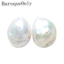 BaroqueOnly big size DIY PENDANT NECKLACE Jewelry Making Freshwater baroque white Pearls Naked Beads A PAIR BI(China)