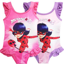 6c7f5733de61e Kawaii Miraculous Ladybug Red Children Swimsuit for Girls Summer Cartoon One  Piece Swimsuit Kids Swim Bathing
