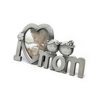 I Love Mom Metal Picture Photo Frame Silver