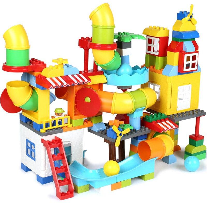 2018 NOUVEAU LegoINGS Duplo Grande Taille Pipeline Blocs Ensembles Château Marbre Course Run Labyrinthe Balle Piste Briques Jouets pour enfants