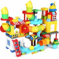 Grande taille Pipeline blocs de construction château marbre course labyrinthe balle piste LegoINGLs Duplo briques jouets éducatifs pour les enfants