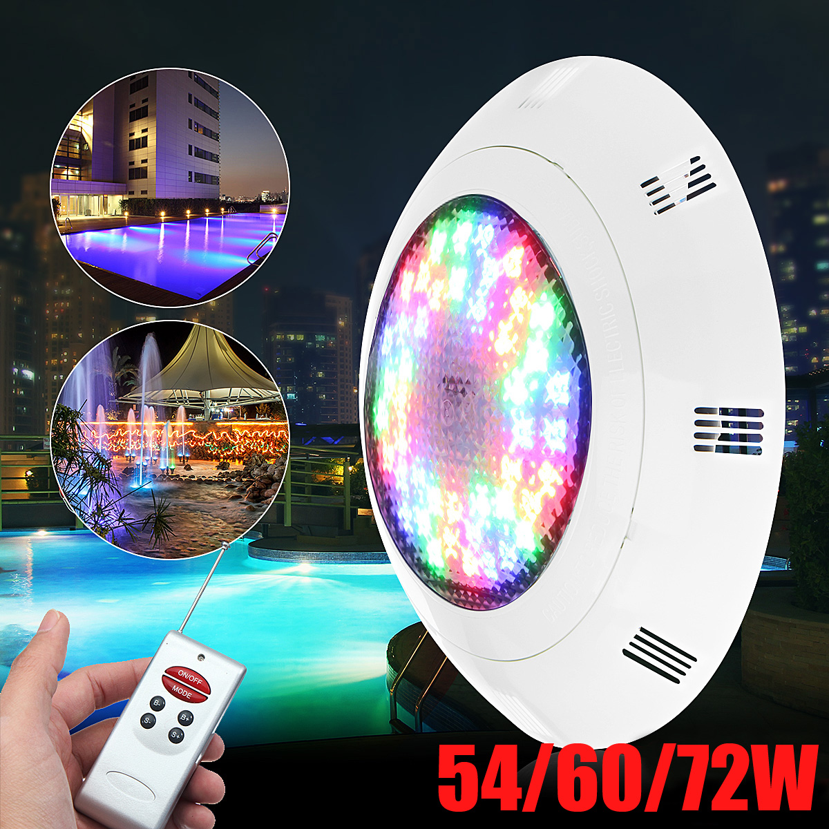 54/60/72W Waterproof RGB LED Swimming Pool Underrwater LED Light IP68 12V 7 Color Wall Mounted Pond Lighting + Remote Control best quality waterproof ip68 rgb multi color remote control induction charge led table light tubes