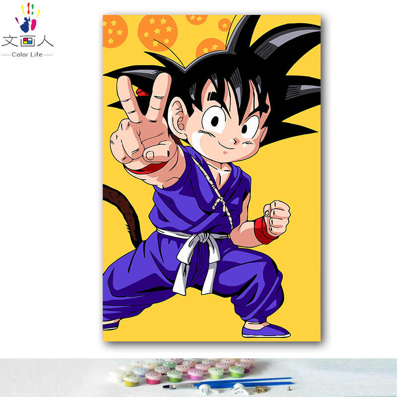DIY colorings pictures by numbers with colors DRAGON BALL Junior Sun Wukong  picture drawing painting by numbers framed