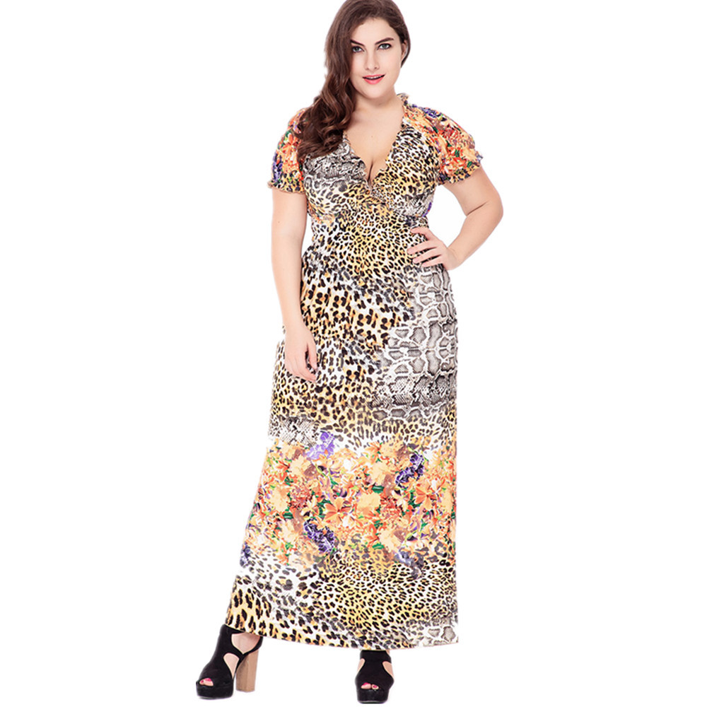 VITIANA Brand 2017 Womens Summer Sexy Beach Clothing Bohemian Leopard Print Maxi Long Party Casual Dress Plus Size 5XL 6XL