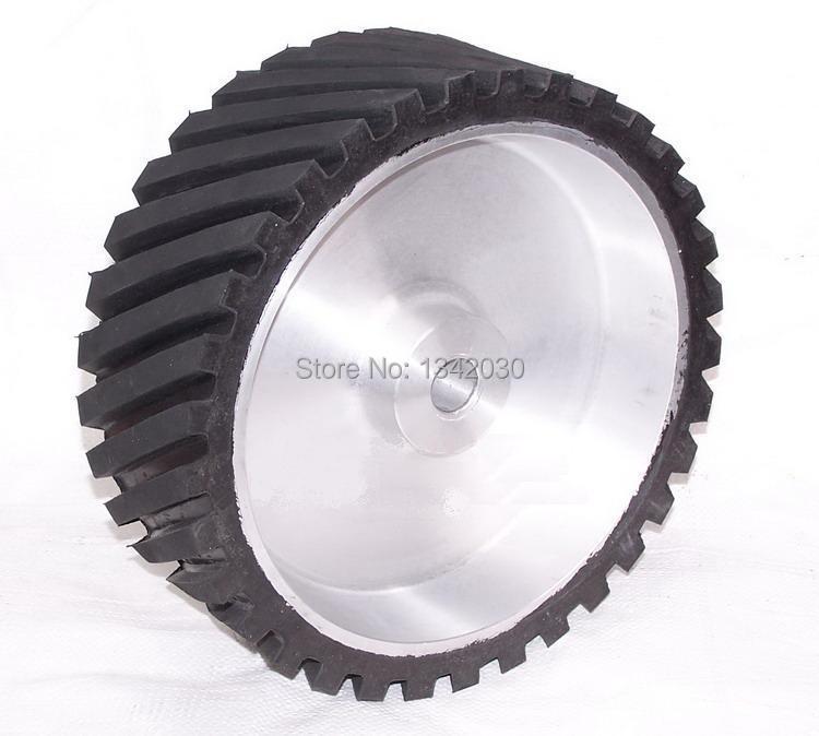250*50*25/32mm Grooved Rubber Wheel Belt Sander Polisher Wheel Sanding Belt Set Contact Wheel