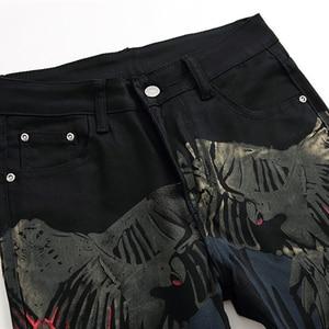 Image 3 - Özel fiyat! Erkek renkli desen 3D baskılı geri kot moda kartal boyalı slim fit düz pantolon