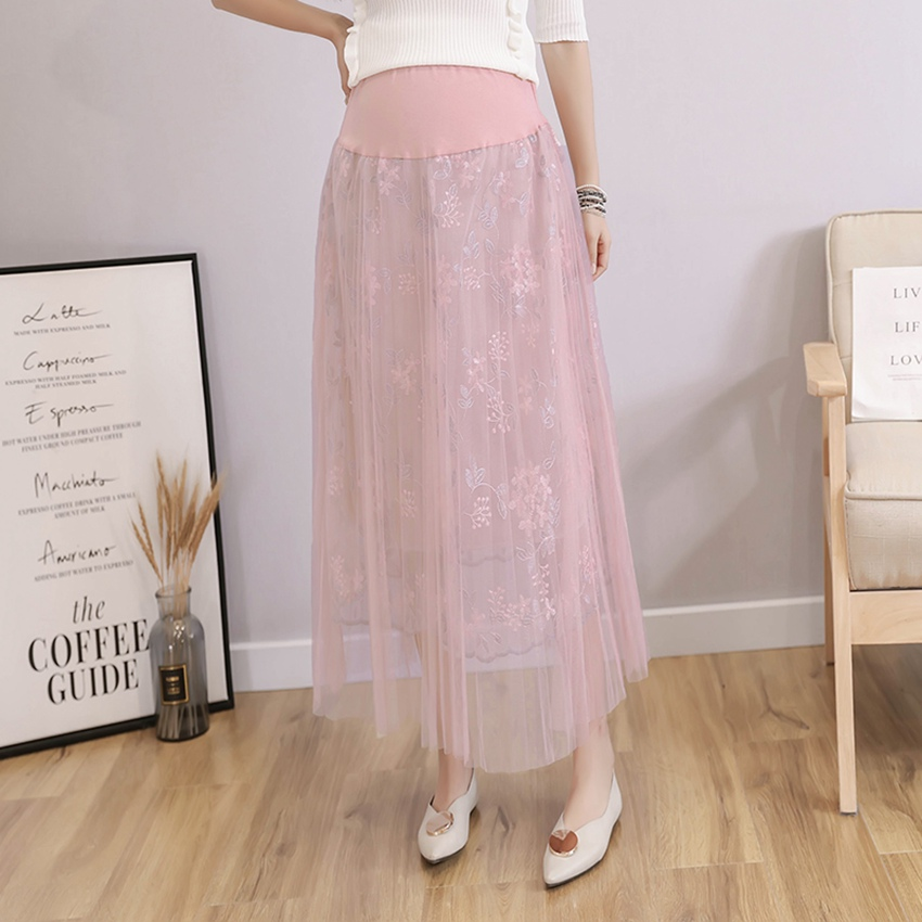 Summer maternity dress mesh stitching lace skirt stomach lift embroidered fairy skirt Korean fashion print pregnancy skirt|Skirts| |  - title=