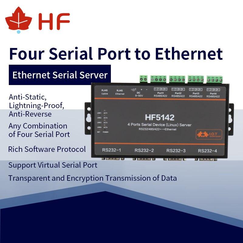 HF5142B industriel officiel 4 Ports RJ45 RS232/485/422 série à Ethernet libre RTOS serveur série convertisseur dispositif