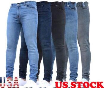 Skinny Jeans Men's Ripped Biker Jeans Destroyed Frayed Distressed Slim Fit Denim Pants StreetWear Pencil Pants 2018 New фото