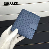ISHARES High Quality Sheep Leather Handmade Weave Short Wallets Lady Coin Card Purse Fashion Lambskin Female