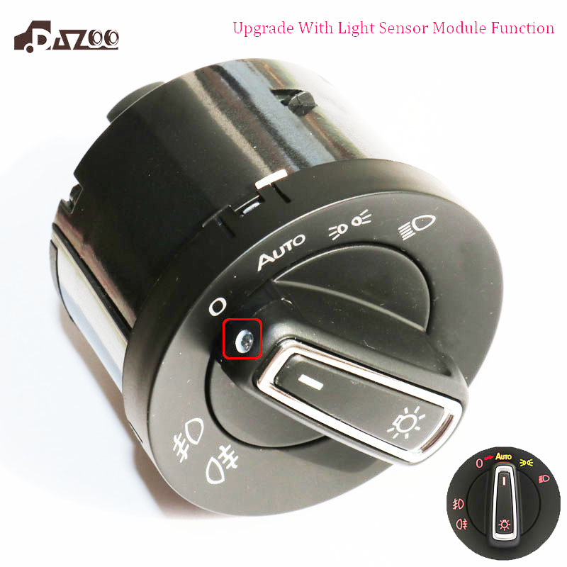 DAZOO New Upgrade AUTO Headlight Head Lamp Switch with Light Sensor Module  For V W Golf J etta MK5 6 Tiguan Touran  5ND941431DAZOO New Upgrade AUTO Headlight Head Lamp Switch with Light Sensor Module  For V W Golf J etta MK5 6 Tiguan Touran  5ND941431