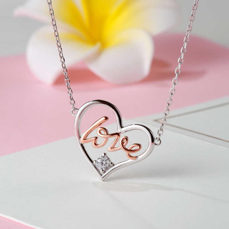 MANBU naszyjnik kobiety 925 sterling silver serce wisiorek naszyjniki miłość różowe złoto płyta wyczyść CZ trendy biżuteria dla prezent dla par