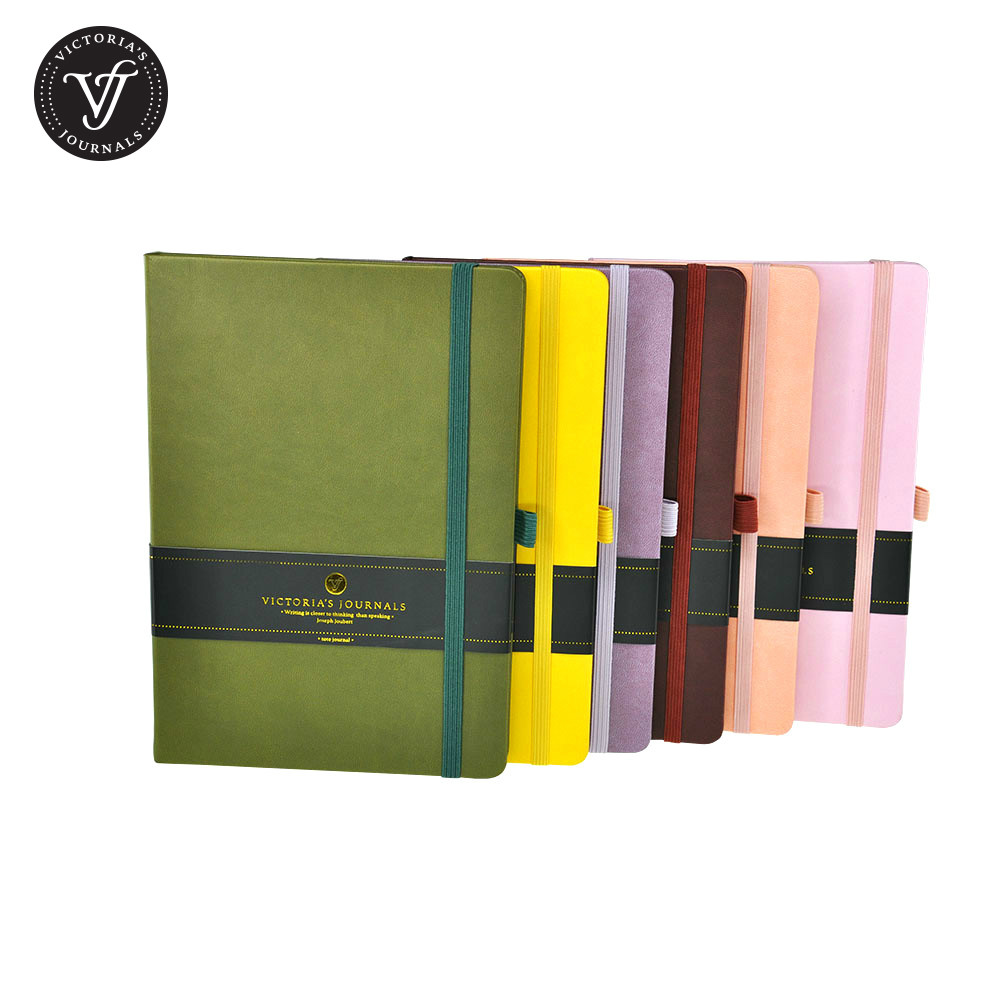 Venzi Hard Cover A5 B6 A6 Ruled Journal Notebook Diary hard cover small notebook diary book pocket candy color elastic band ruled journal