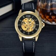 MCE Relojes casuales Los Hombres de Moda marca de Oro esqueleto hombres reloj Mecánico de cuero Negro Hombre reloj Reloj hombre automatico 2016