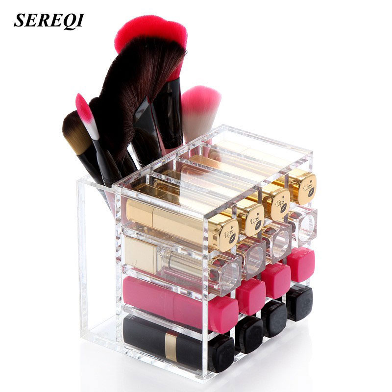 SEREQI 17 Lattice Acrylic Nail Polish Lipstick Display Shelf Makeup Container Desktop Cosmetic Storage Box Holder Organizer