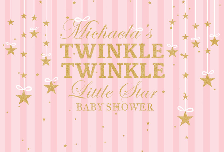 US $7 08 10% OFF|Sensfun Gold Twinkle Little Star Baby Shower Birthday  Party Backdrop Pink Stripes Girls Backgrounds For Photo Studio Vinyl-in