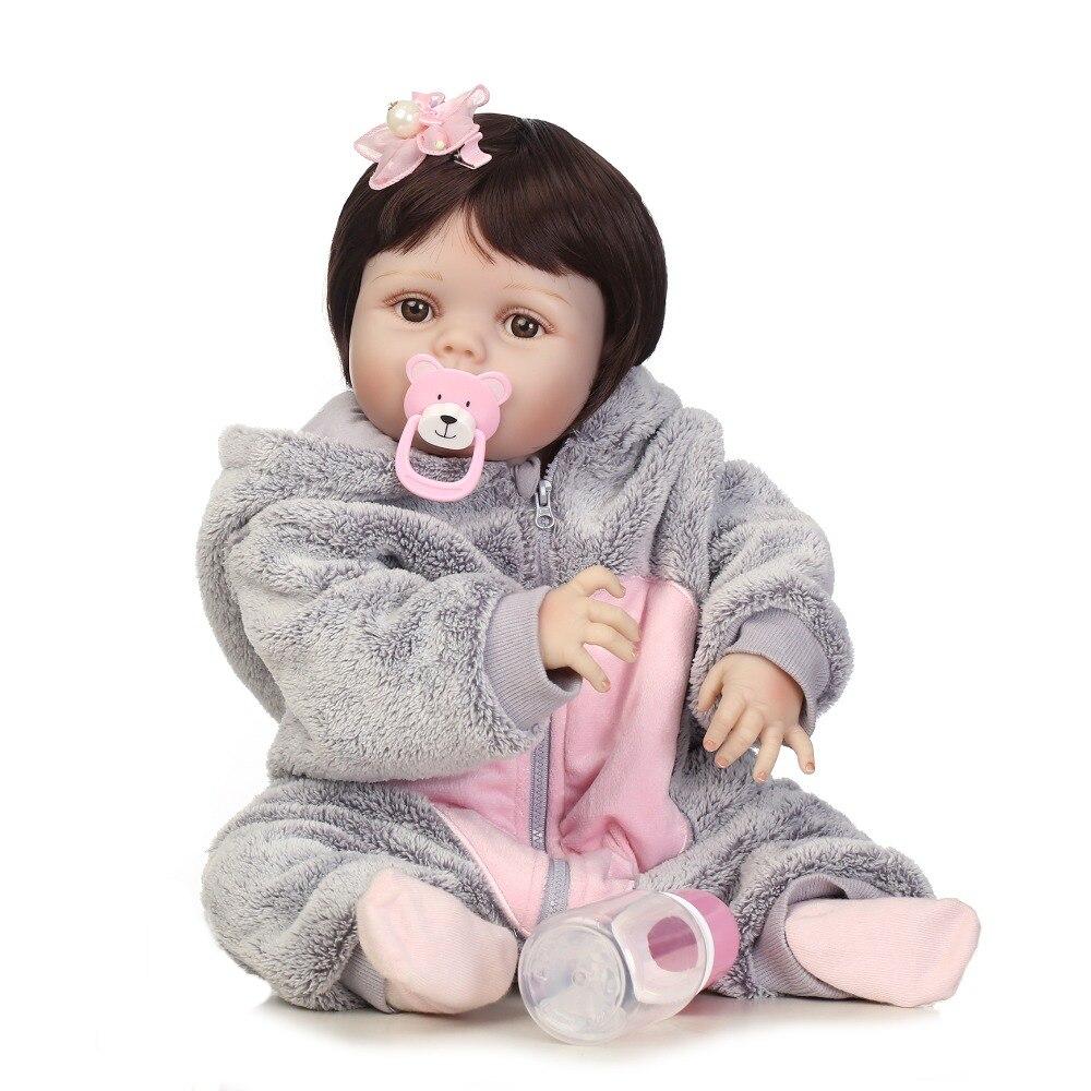 NPK 56 cm réaliste bebe bonecas pleine silicone bébé fille avec belle stress meilleurs enfants cadeau silicone reborn bébé poupées-in Poupées from Jeux et loisirs    2