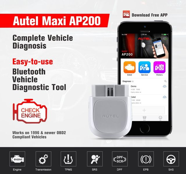 Autel Maxi AP200 obd2 Scanner Bluetooth adapter with all system diagnoses with One free Vehicle software PK MaxiCOM MK808