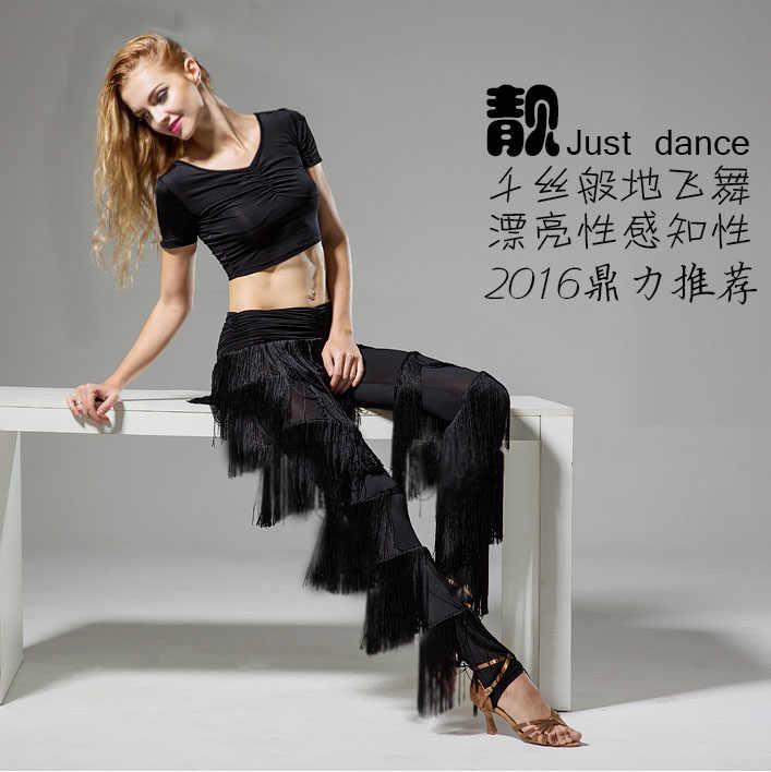 גבירותיי למבוגרים מודרני ריקוד חצאית מכנסיים מצויץ מכנסיים לטיני ריקוד חדש פרינג 'מכנסיים לטינית בנות סלוניים לטיני שמלה